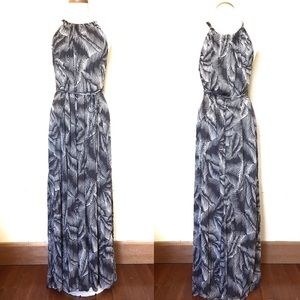 GAP Gray and White Palm Halter Jersey Maxi Dress